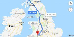 Strecke von Wales nach Schottland